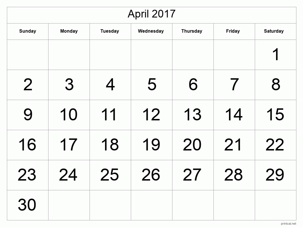 Printable April 2017 Blank Calendar - full-page, tabular