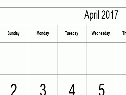April 2017 calendar template - full-page, tabular
