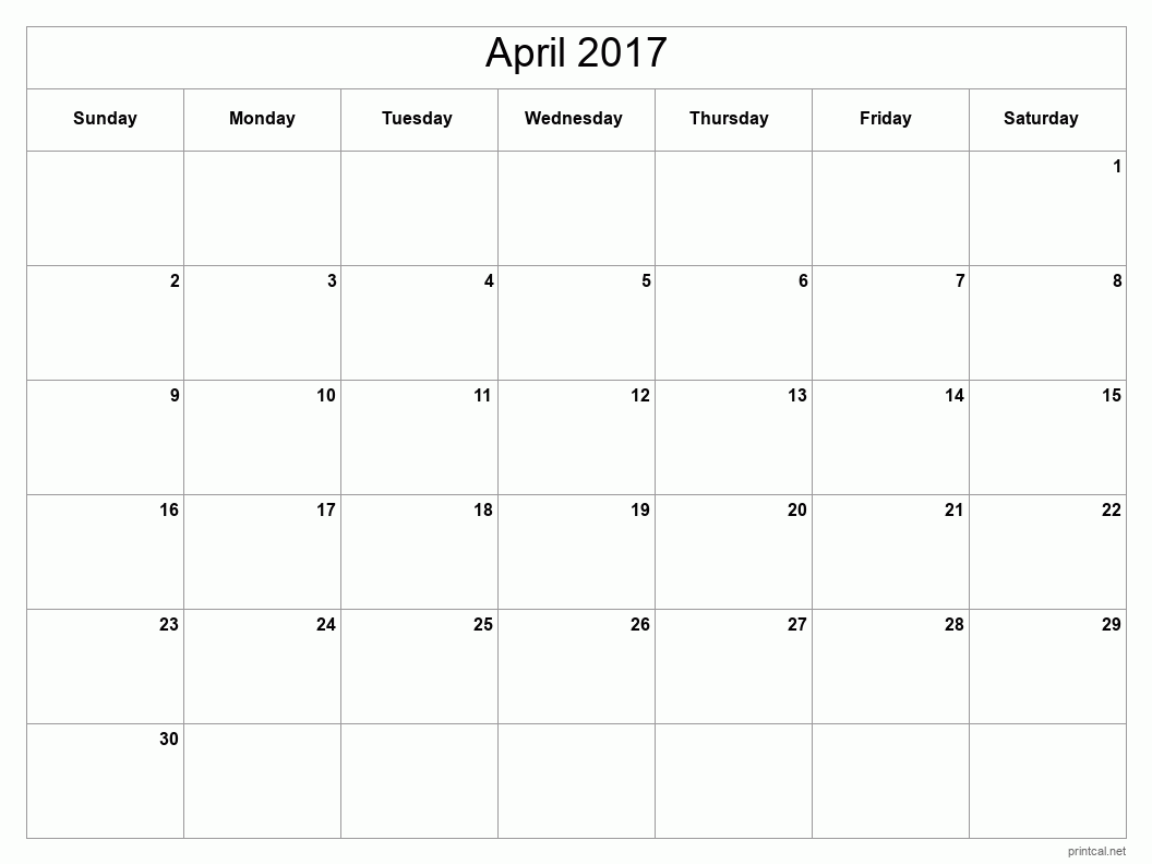 Printable April 2017 Calendar - Template #2 (full-page, blank grid)