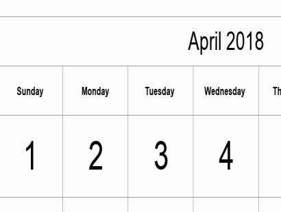 April 2018 calendar template - full-page, tabular