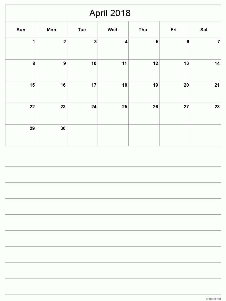 Printable April 2018 Blank Calendar - half-page with notes