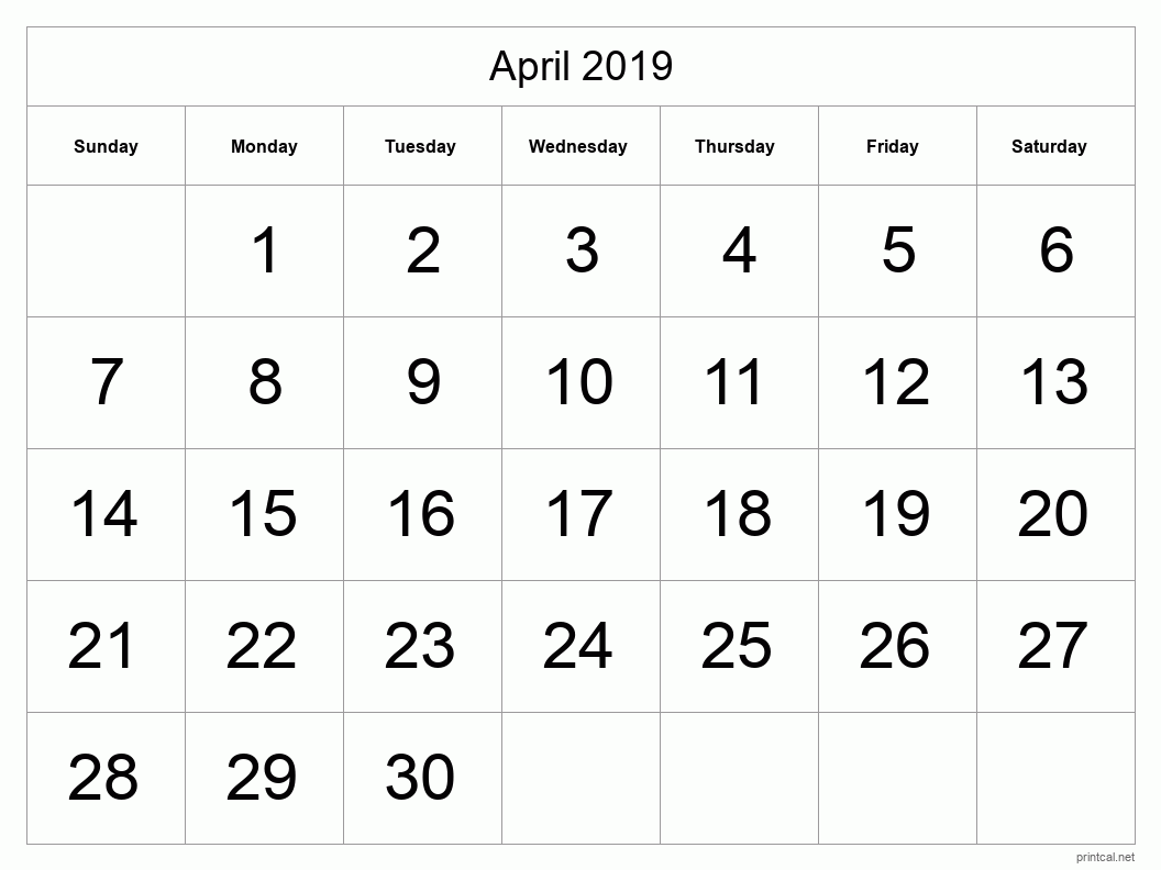 Printable April 2019 Blank Calendar - full-page, tabular