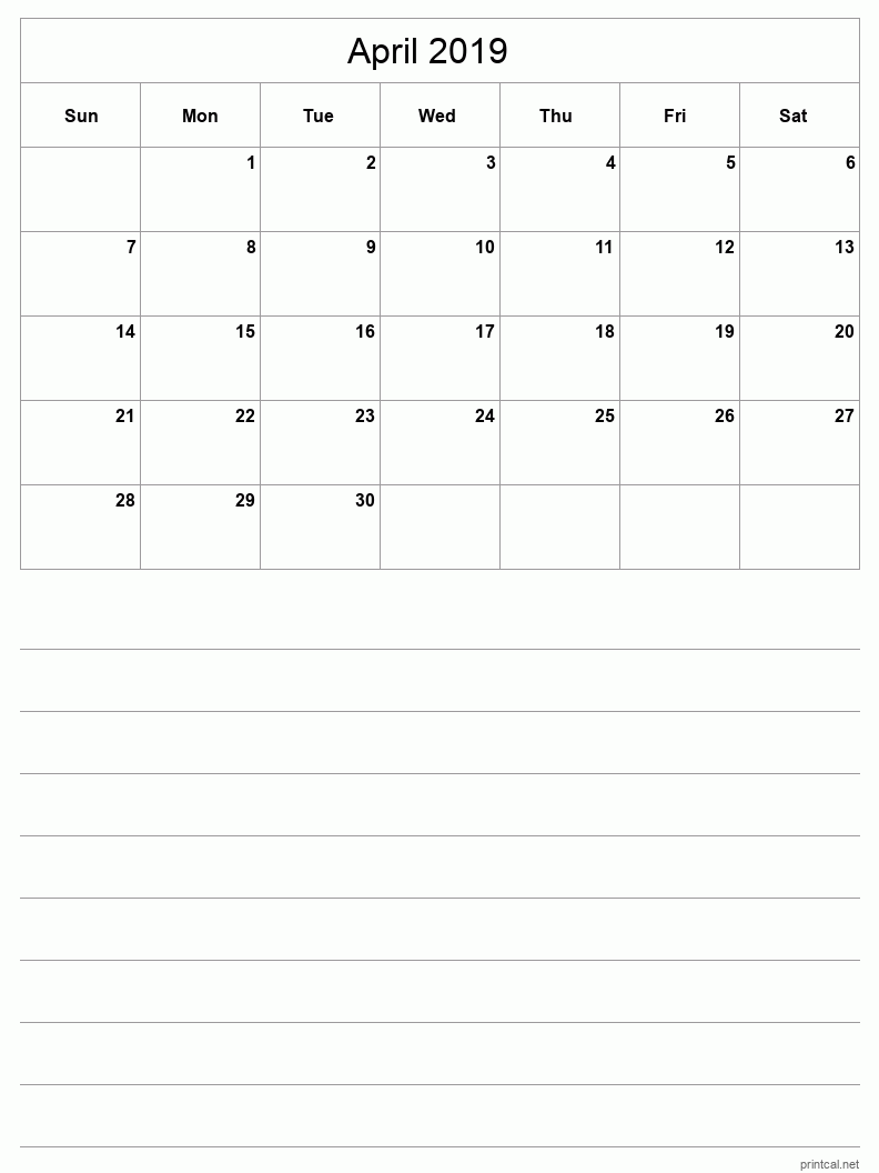 Printable April 2019 Blank Calendar - half-page with notes