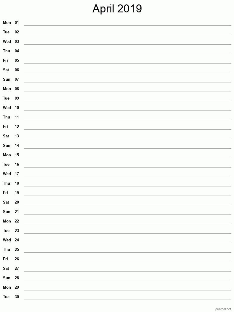Printable April 2019 Blank Calendar - full-page notes