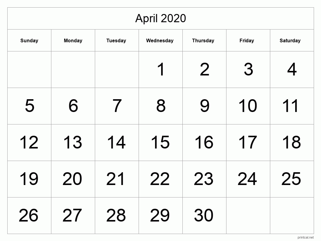 Printable April 2020 Blank Calendar - full-page, tabular