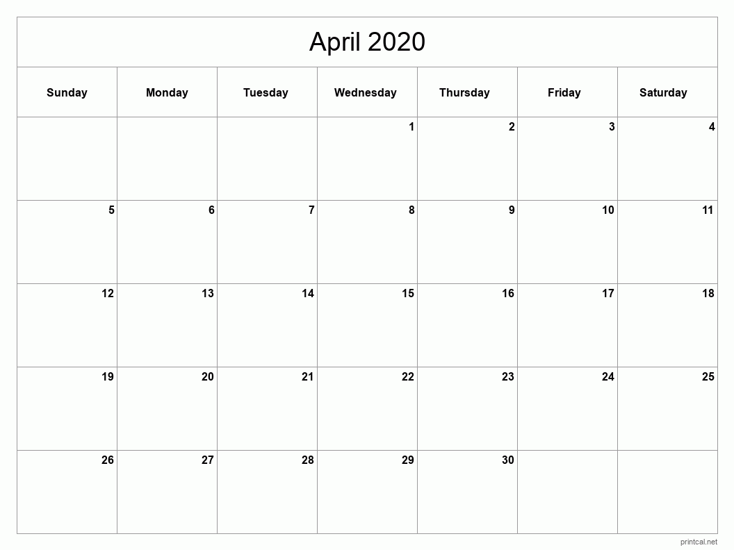 Printable April 2020 Blank Calendar - full-page, blank grid