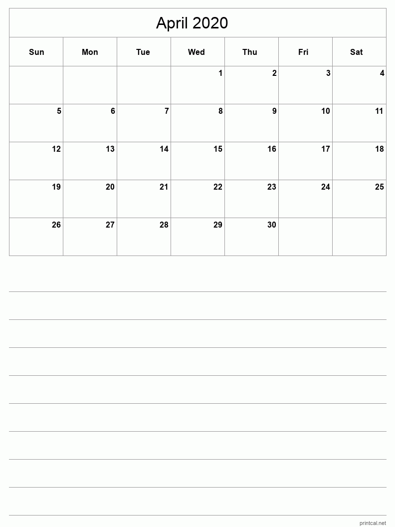 April 2020 Printable Calendar - Grid with notes