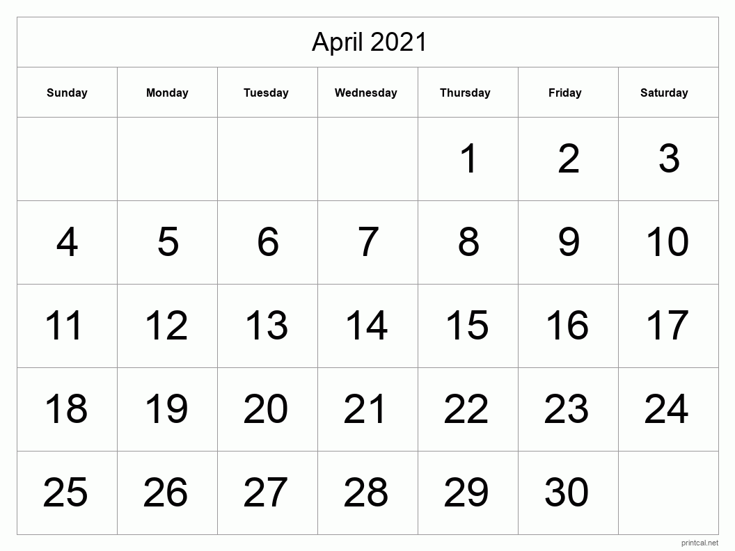 April 2021 Printable Calendar - Half Page (Big Dates)