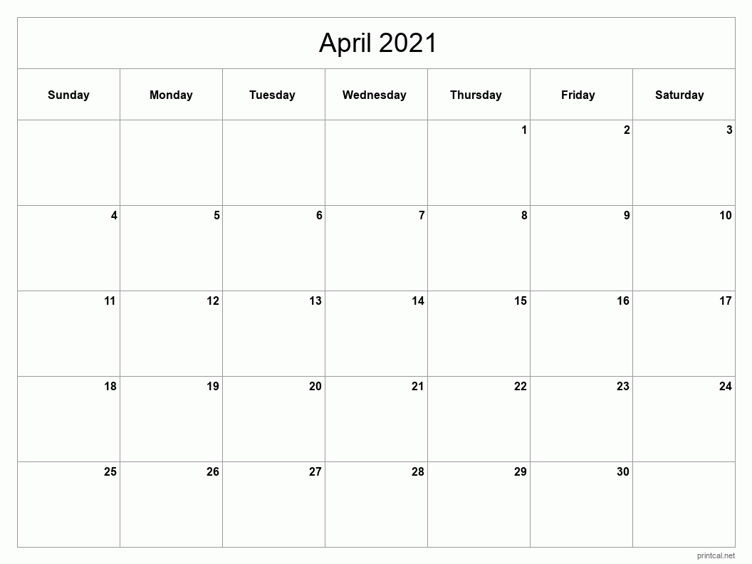 April 2021 Printable Calendar - Classic Blank Sheet