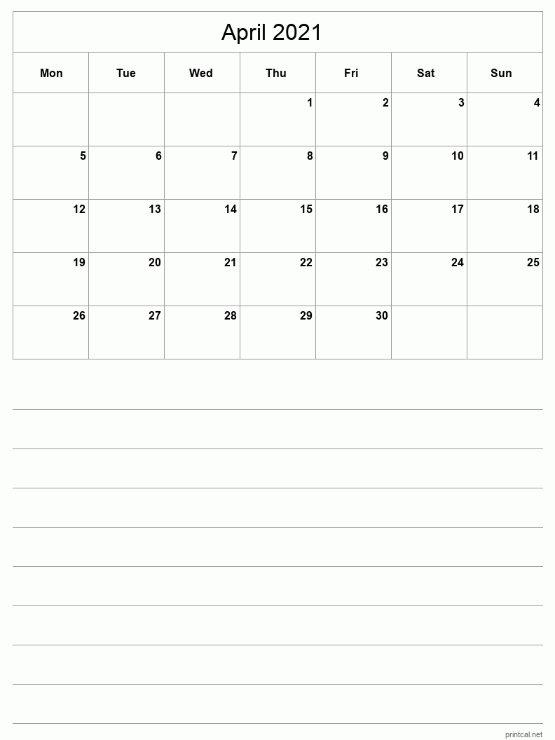April 2021 Printable Calendar - Half-Page With Notesheet