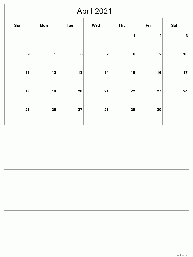 April 2021 Printable Calendar - Grid with notes