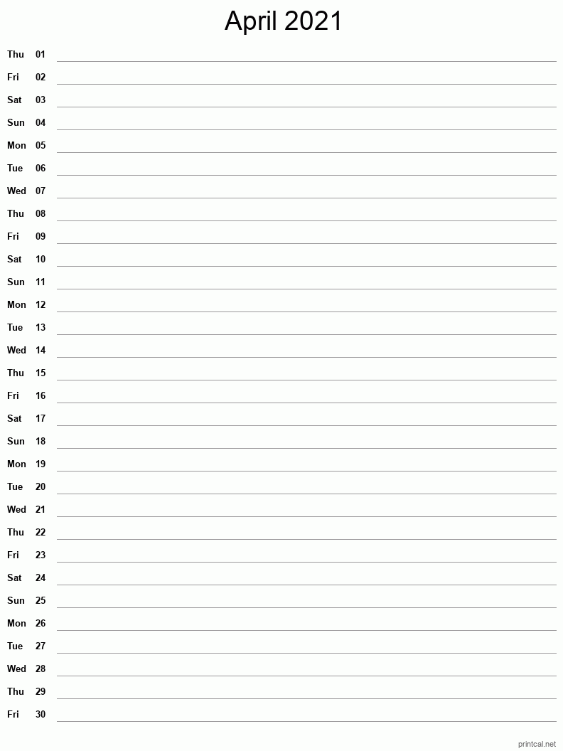 April 2021 Printable Calendar - Notes (Single Column)