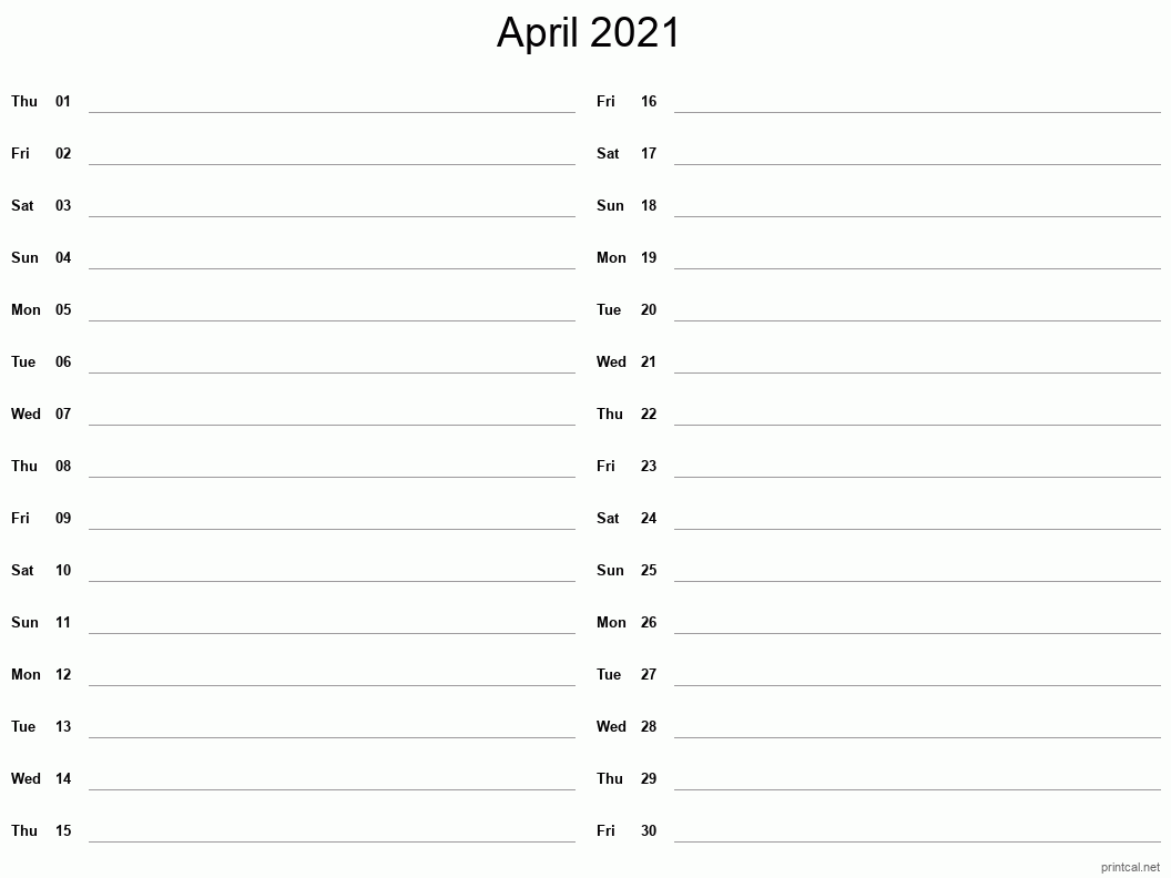 April 2021 Printable Calendar - Two Column Notesheet