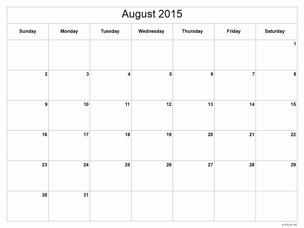 Monthly Calendar Grid Template : Printable august calendar template full page