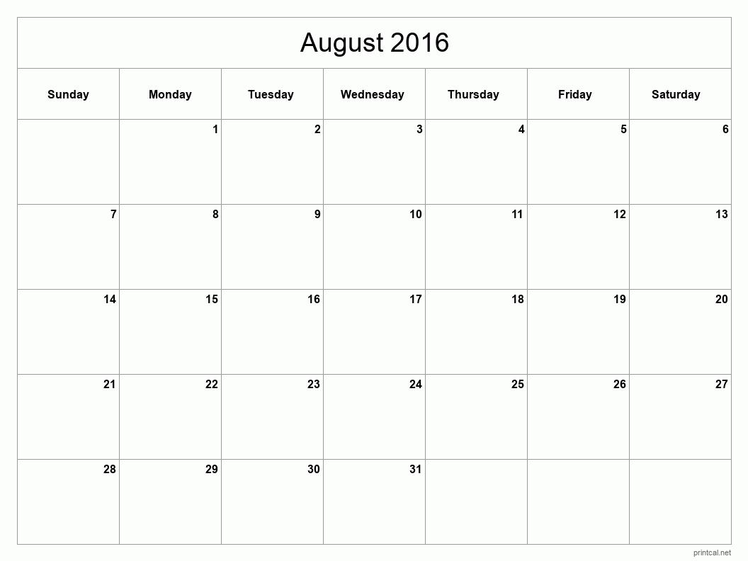 Printable August 2016 Calendar - Template #2 (full-page, blank grid)
