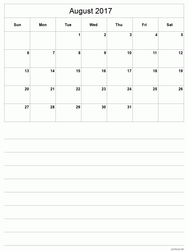 Printable August 2017 Blank Calendar - half-page with notes