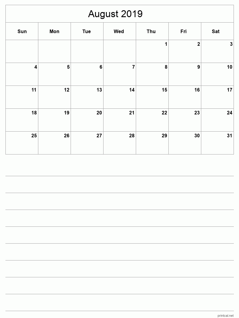 Printable August 2019 Blank Calendar - half-page with notes