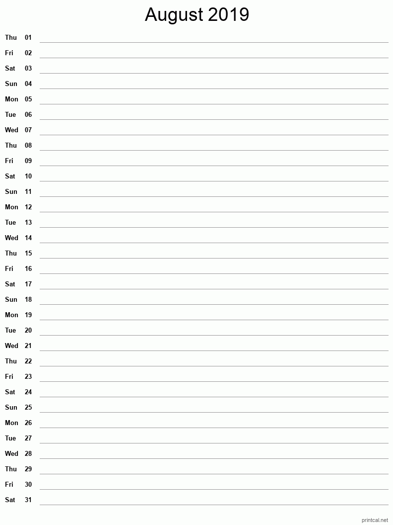 Printable August 2019 Blank Calendar - full-page notes