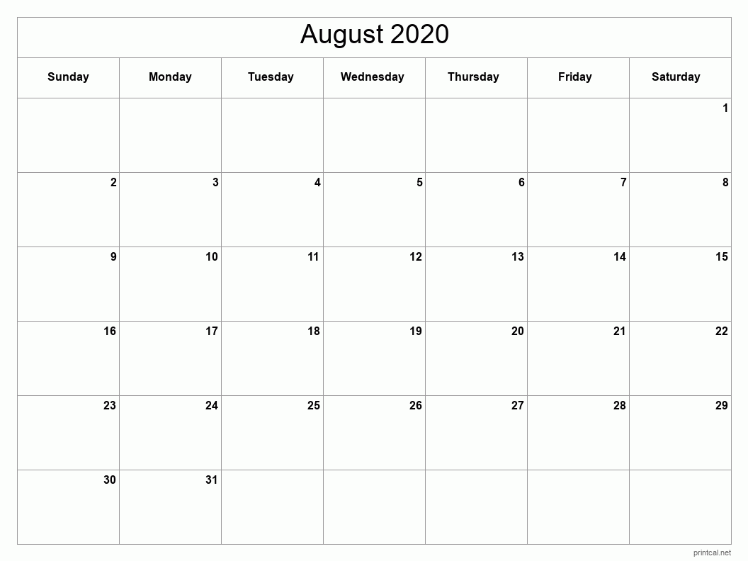 August 2020 Printable Calendar - Full Page (Classic Grid)