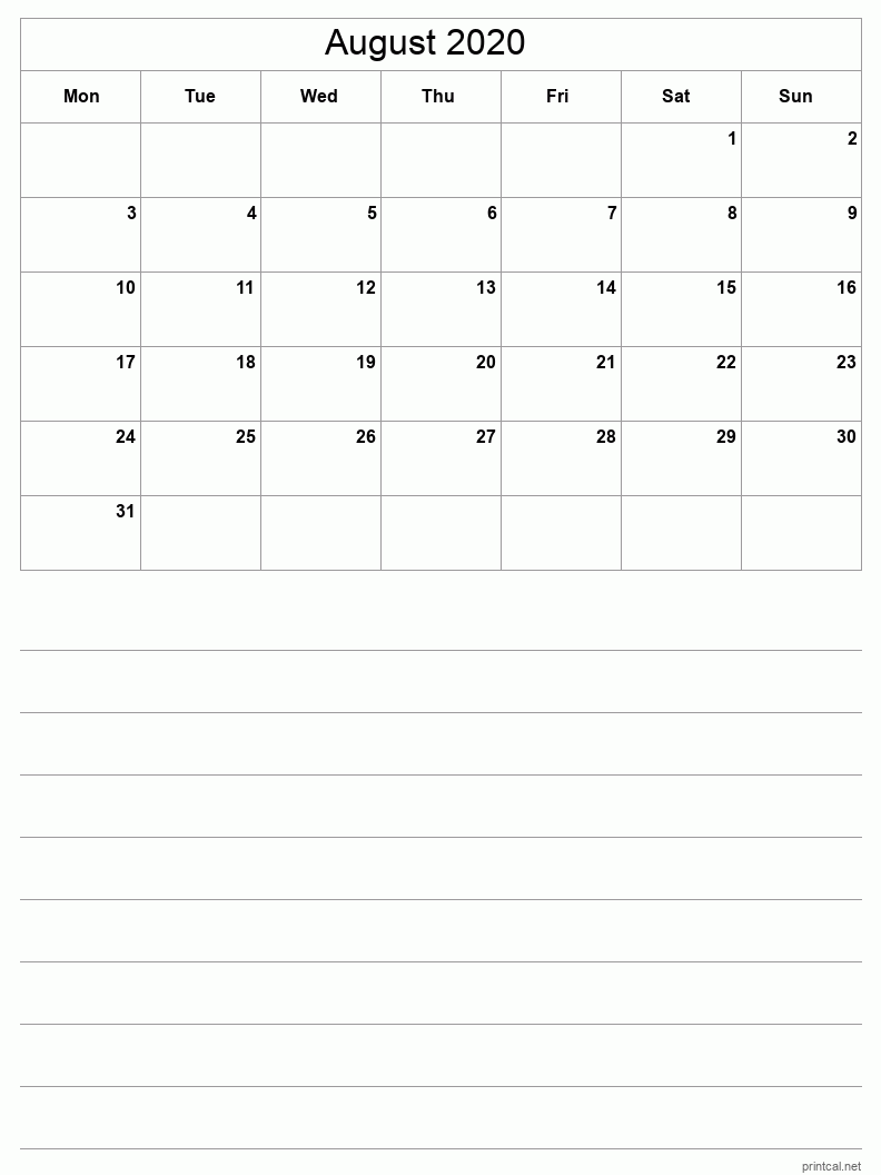 August 2020 Printable Calendar - Grid with notes