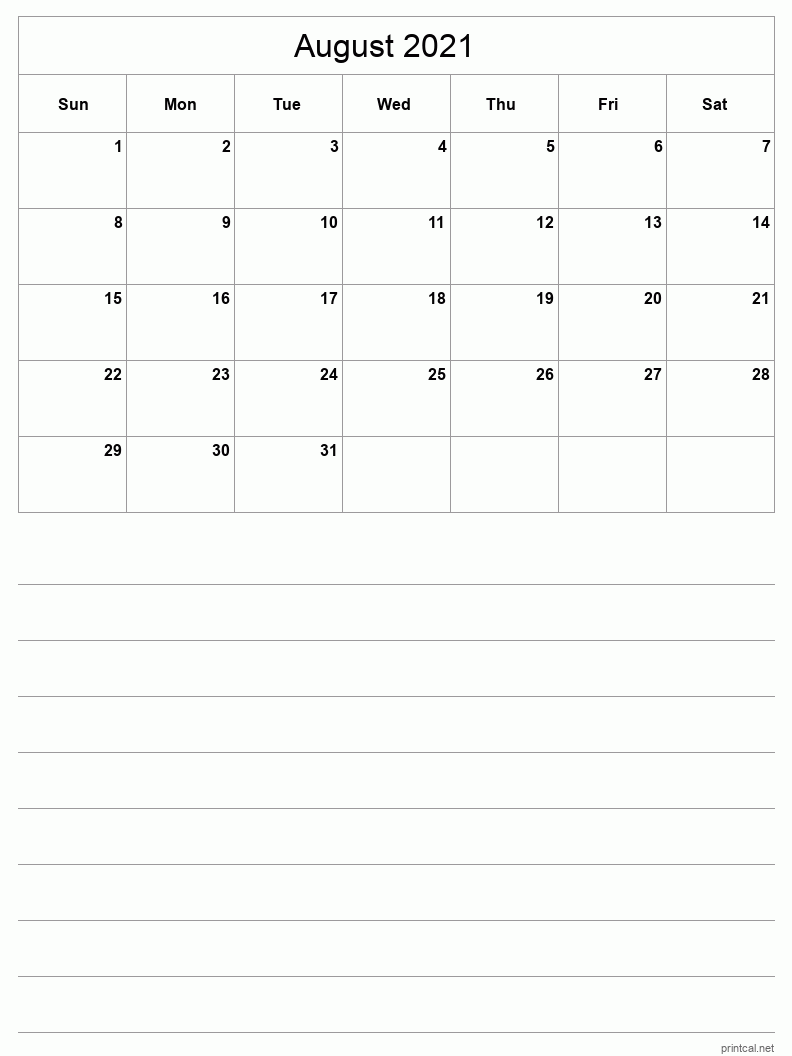 August 2021 Printable Calendar - Half-Page With Notesheet