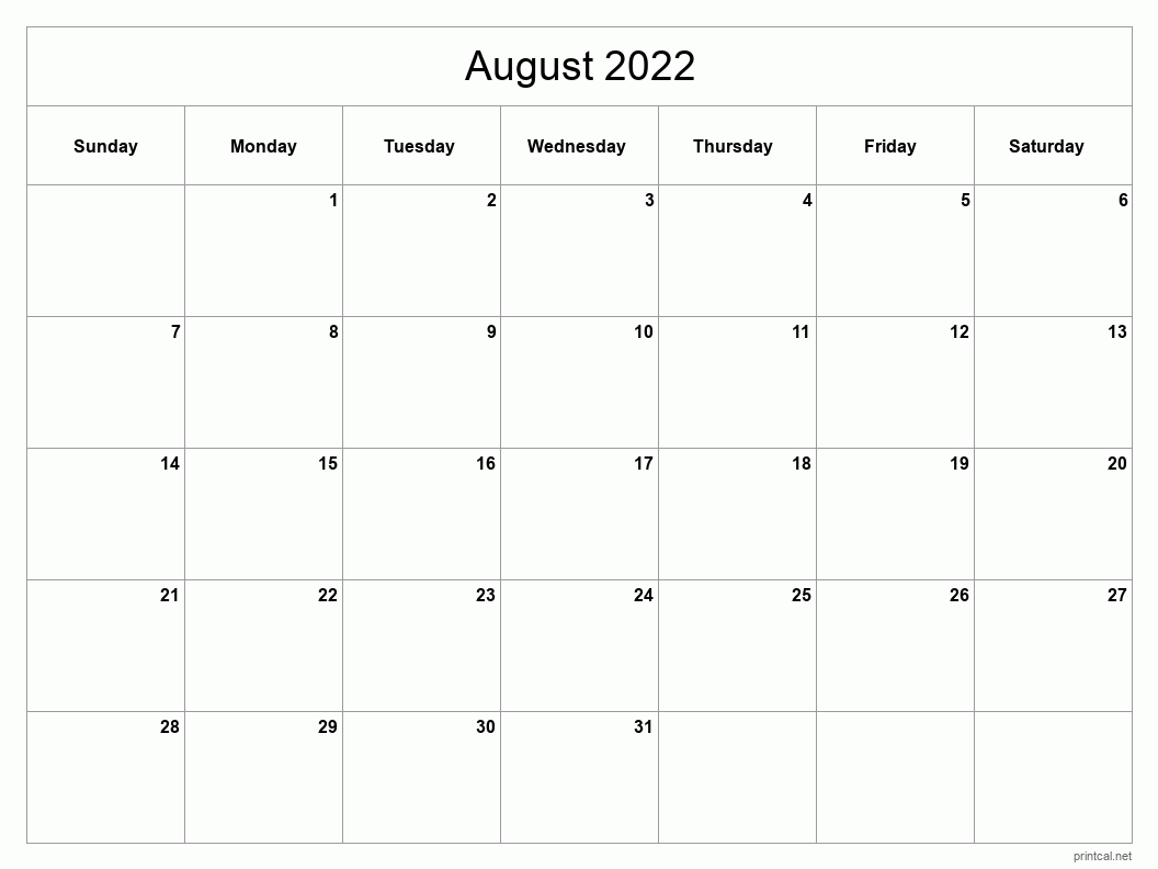 Blank Calendar August 2022 Printable.Printable August 2022 Calendar Free Printable Calendars
