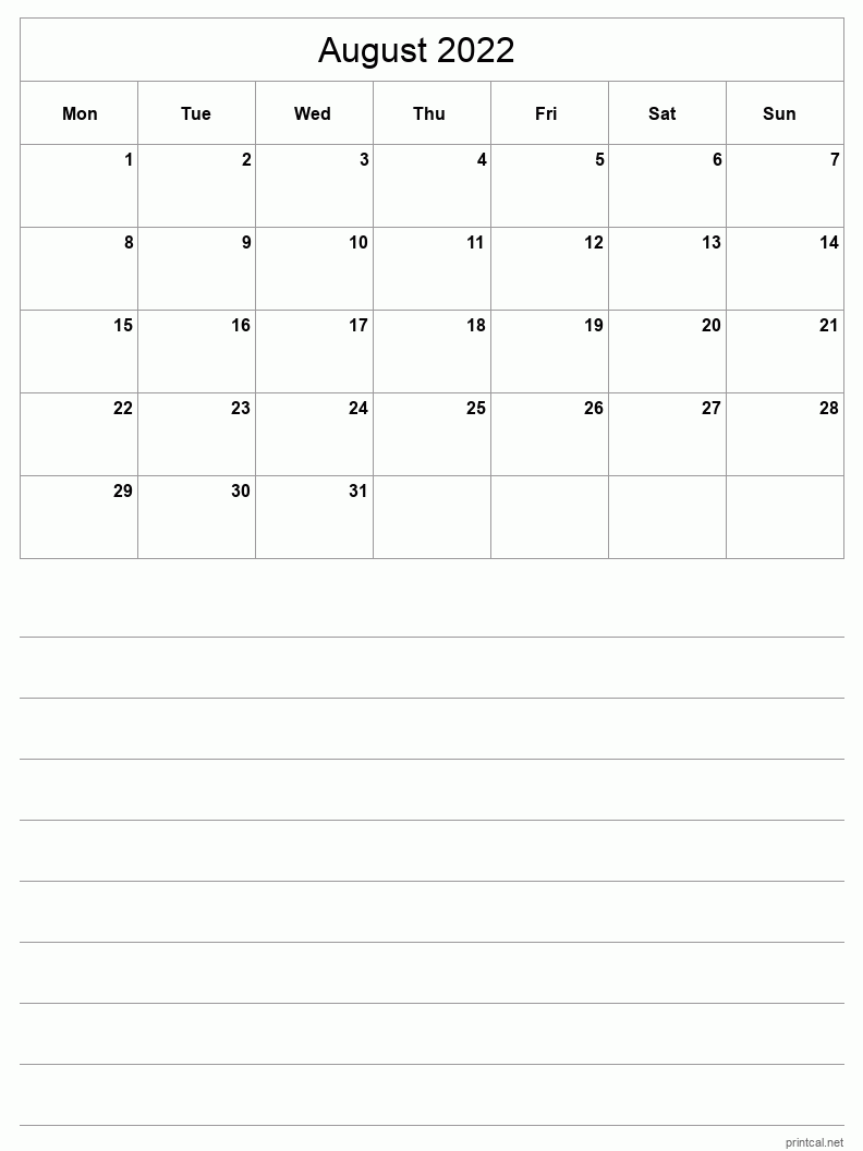 August 2022 Printable Calendar - Half-Page With Notesheet