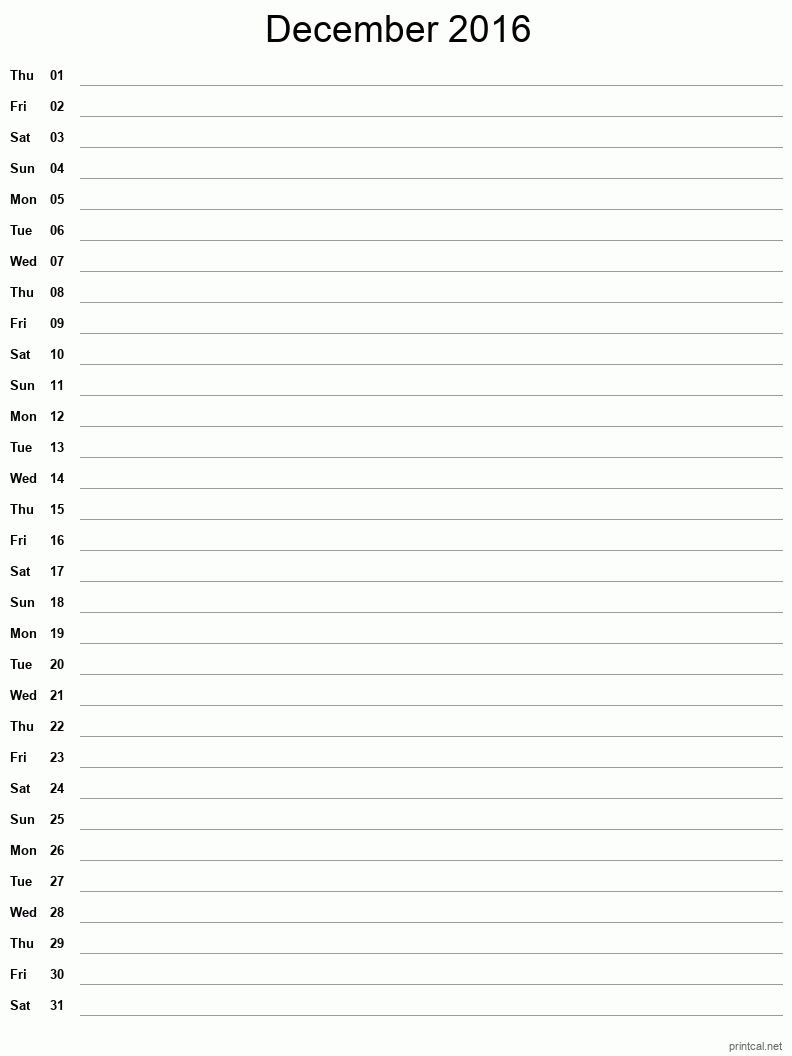 Printable December 2016 Blank Calendar - full-page notes