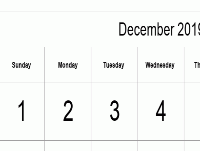 December 2019 calendar template - full-page, tabular