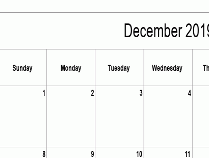 December 2019 calendar template - full-page, blank grid