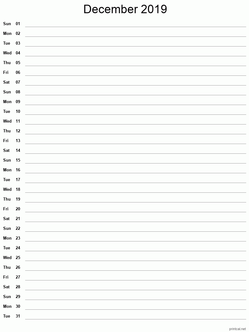 Printable December 2019 Blank Calendar - full-page notes