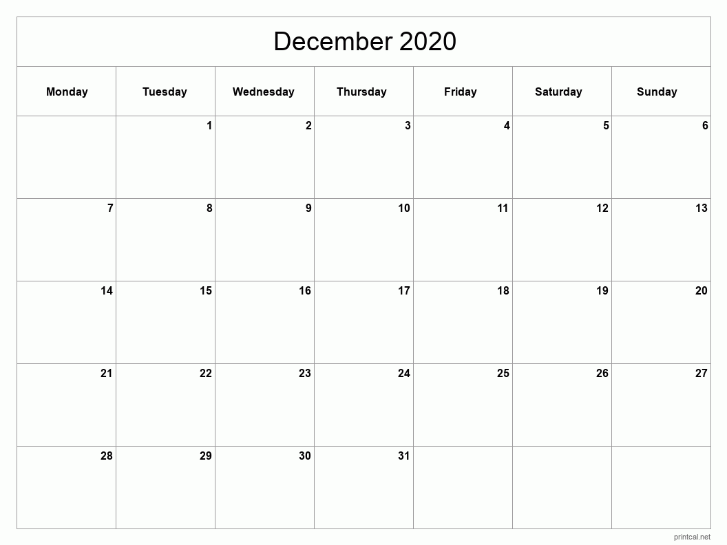 December 2020 Printable Calendar - Full Page (Classic Grid)