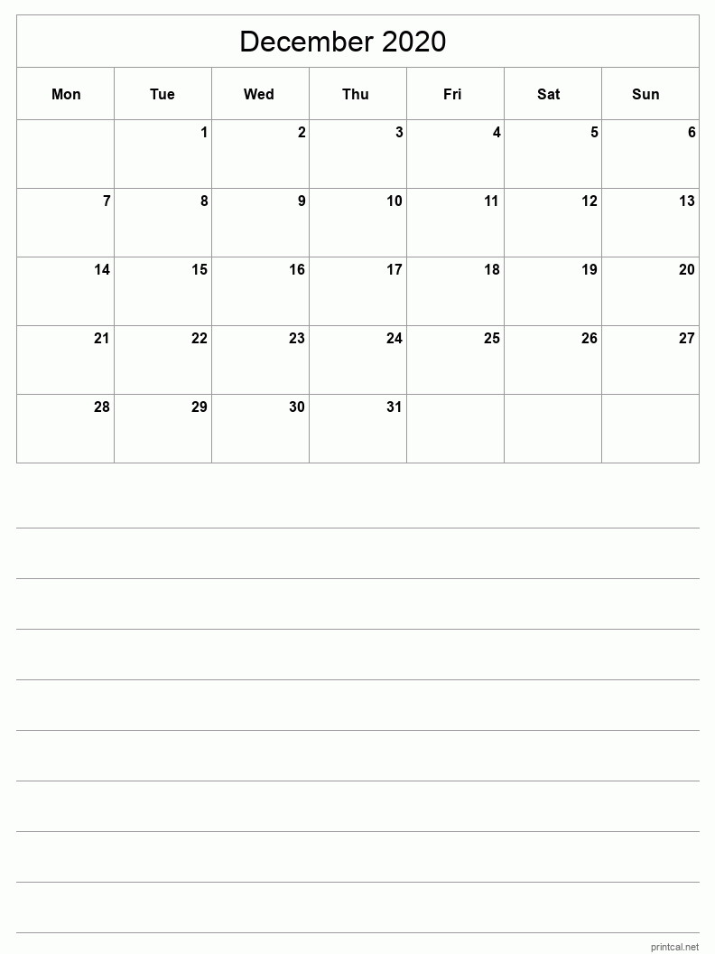December 2020 Printable Calendar - Grid with notes