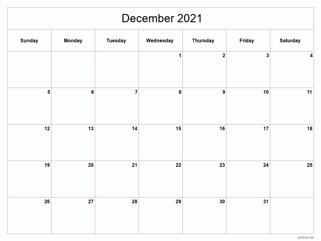 December 2021 Printable Calendar - Classic Blank Sheet