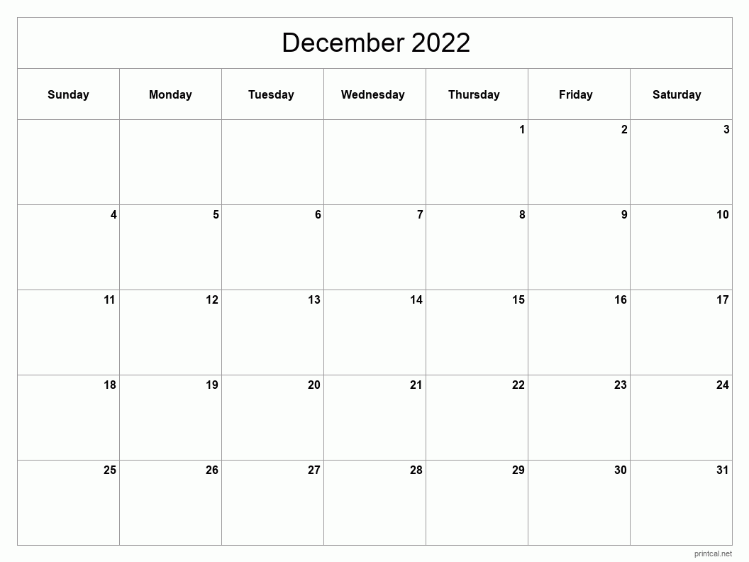 Printable December 2022 Calendar   Free Printable Calendars