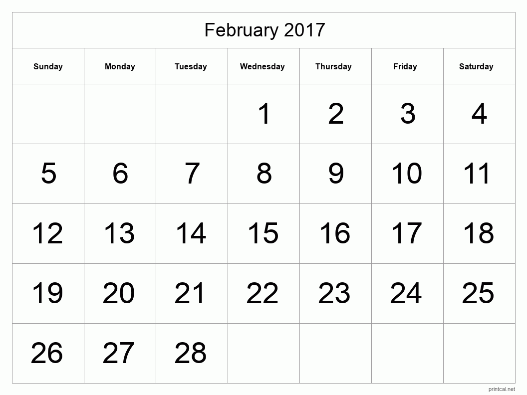 Printable February 2017 Blank Calendar - full-page, tabular