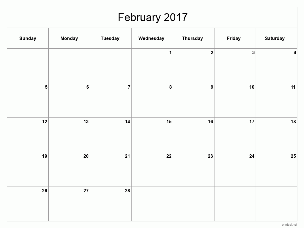 Printable February 2017 Blank Calendar - full-page, blank grid
