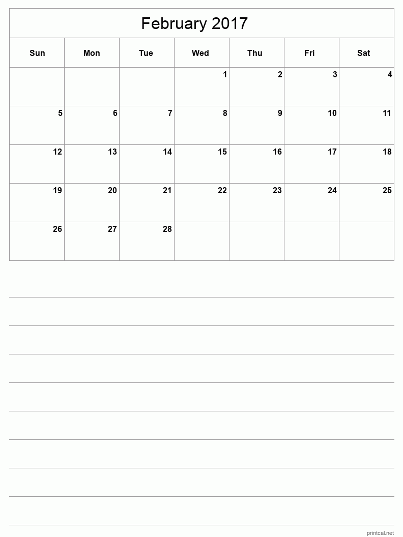 Printable February 2017 Blank Calendar - half-page with notes