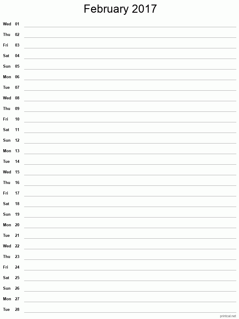Printable February 2017 Blank Calendar - full-page notes