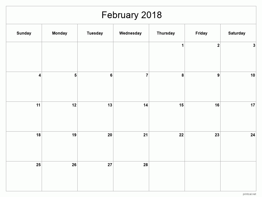 Printable February 2018 Blank Calendar - full-page, blank grid