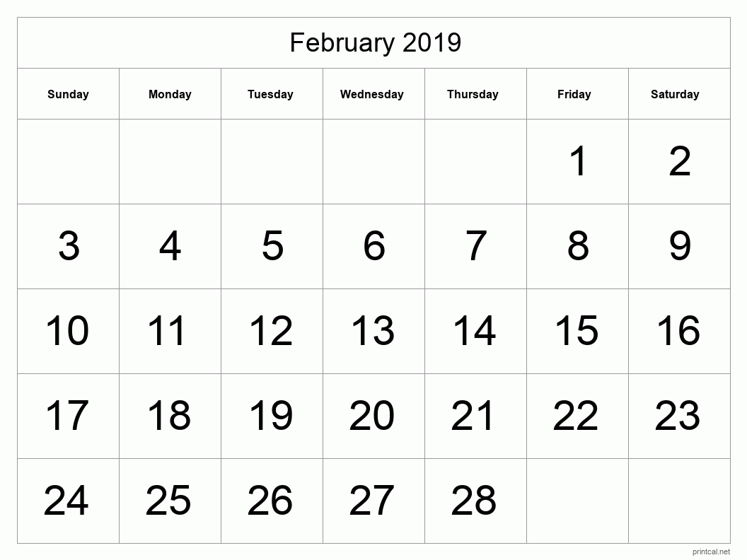 Printable February 2019 Blank Calendar - full-page, tabular