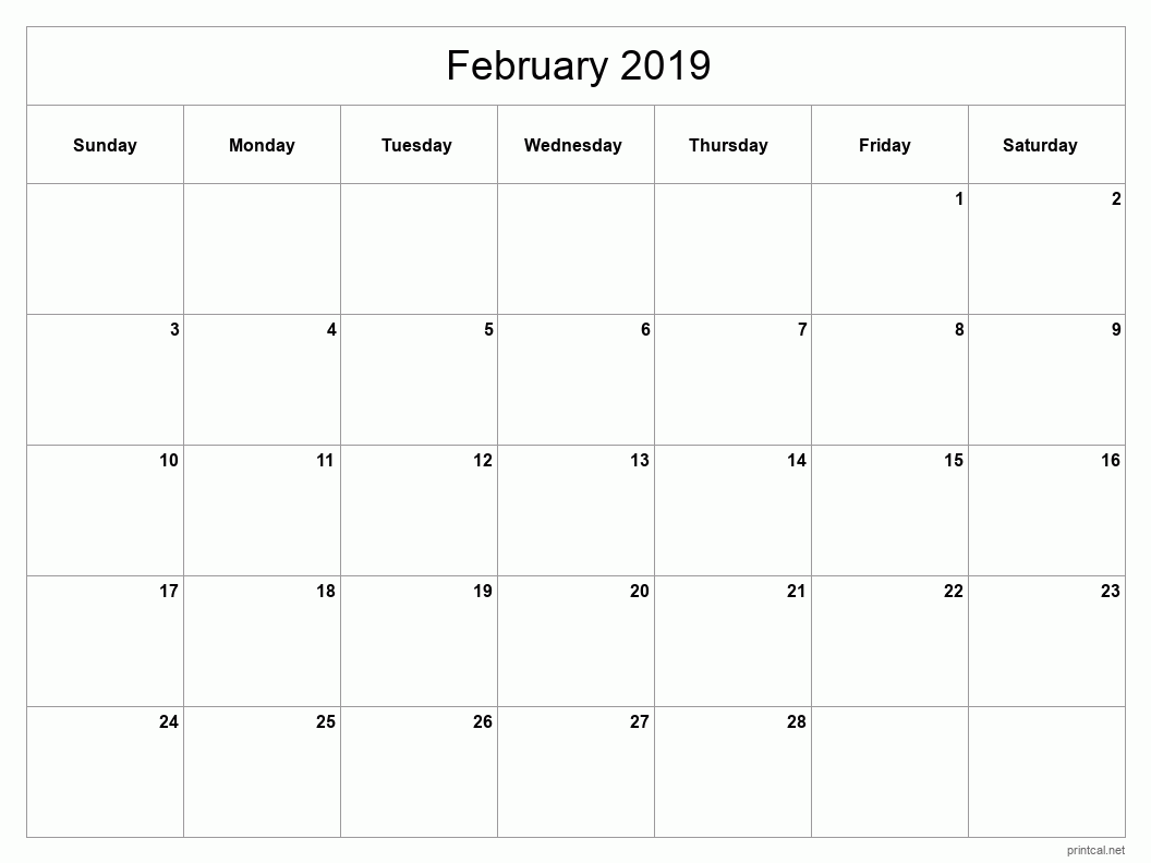 Printable February 2019 Blank Calendar - full-page, blank grid