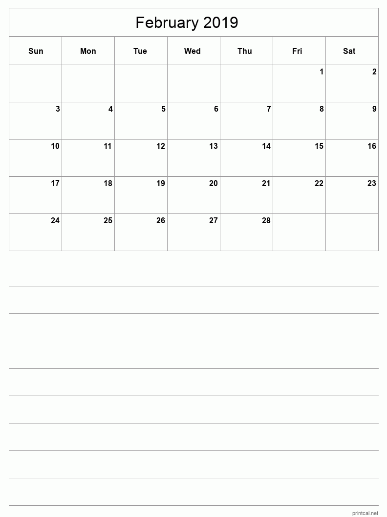 February 2019 Printable Calendar - Grid with notes