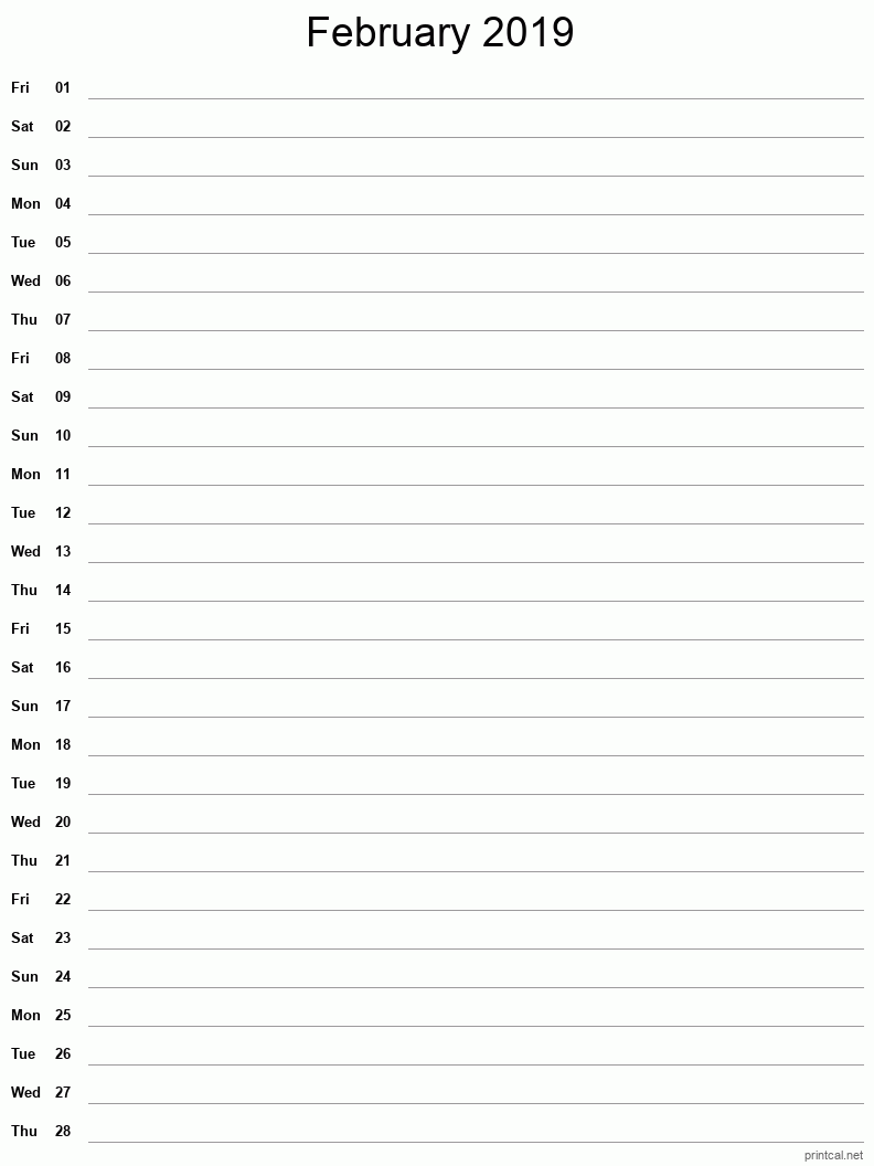 February 2019 Printable Calendar - Notes (Single Column)