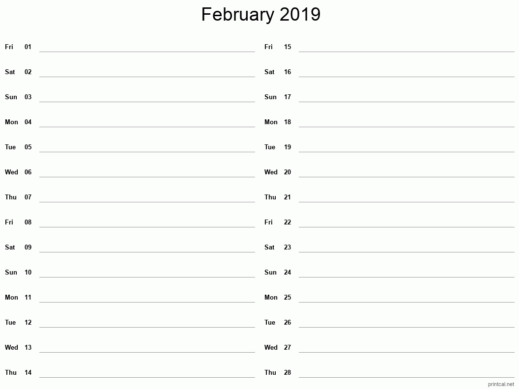 February 2019 Printable Calendar - Two Column Notesheet