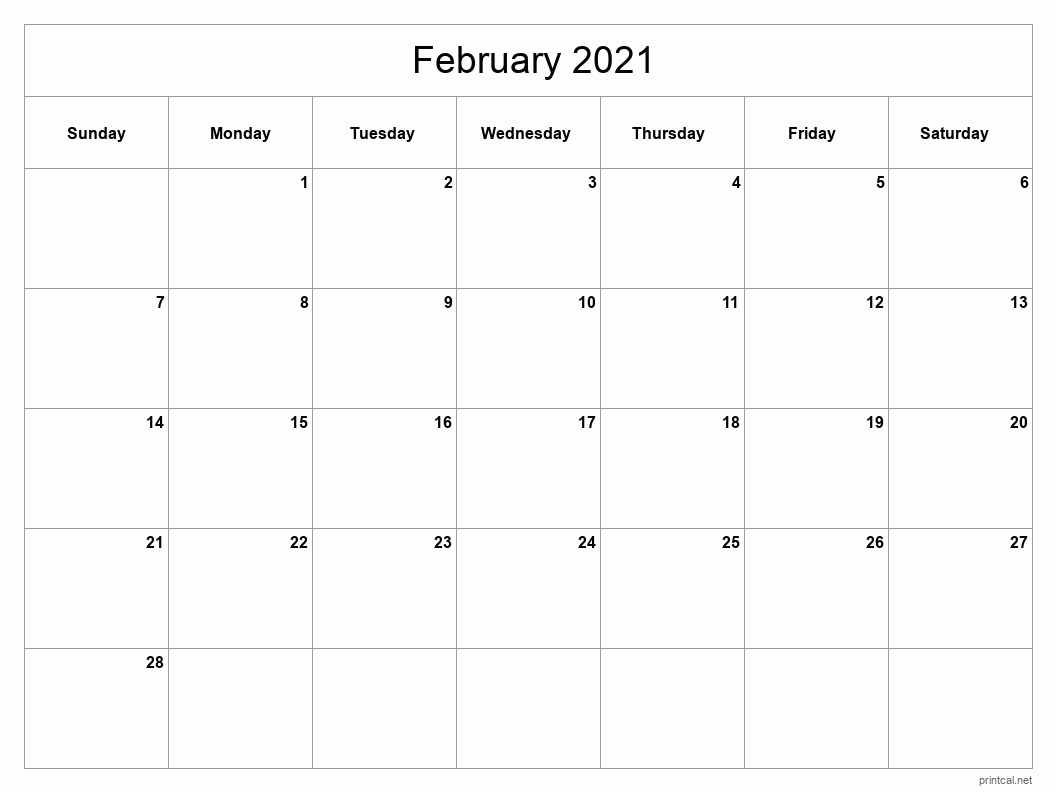 February 2021 Printable Calendar - Classic Blank Sheet