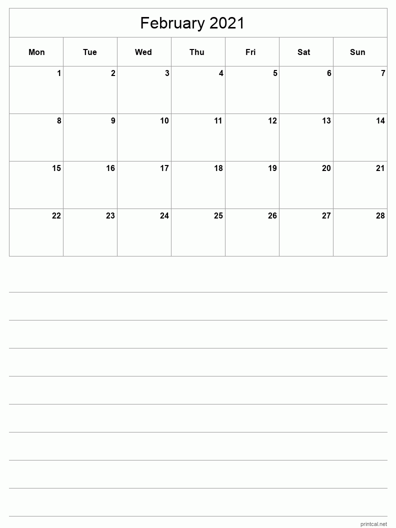 February 2021 Printable Calendar - Half-Page With Notesheet