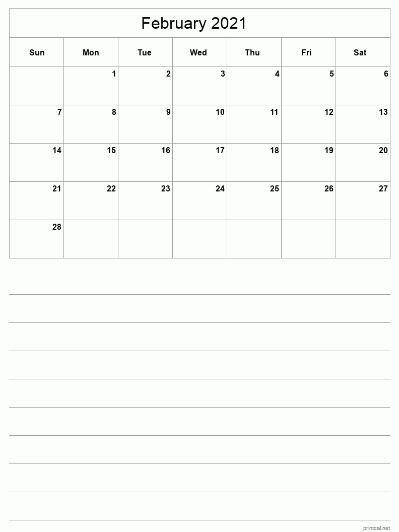 February 2021 Printable Calendar - Grid with notes