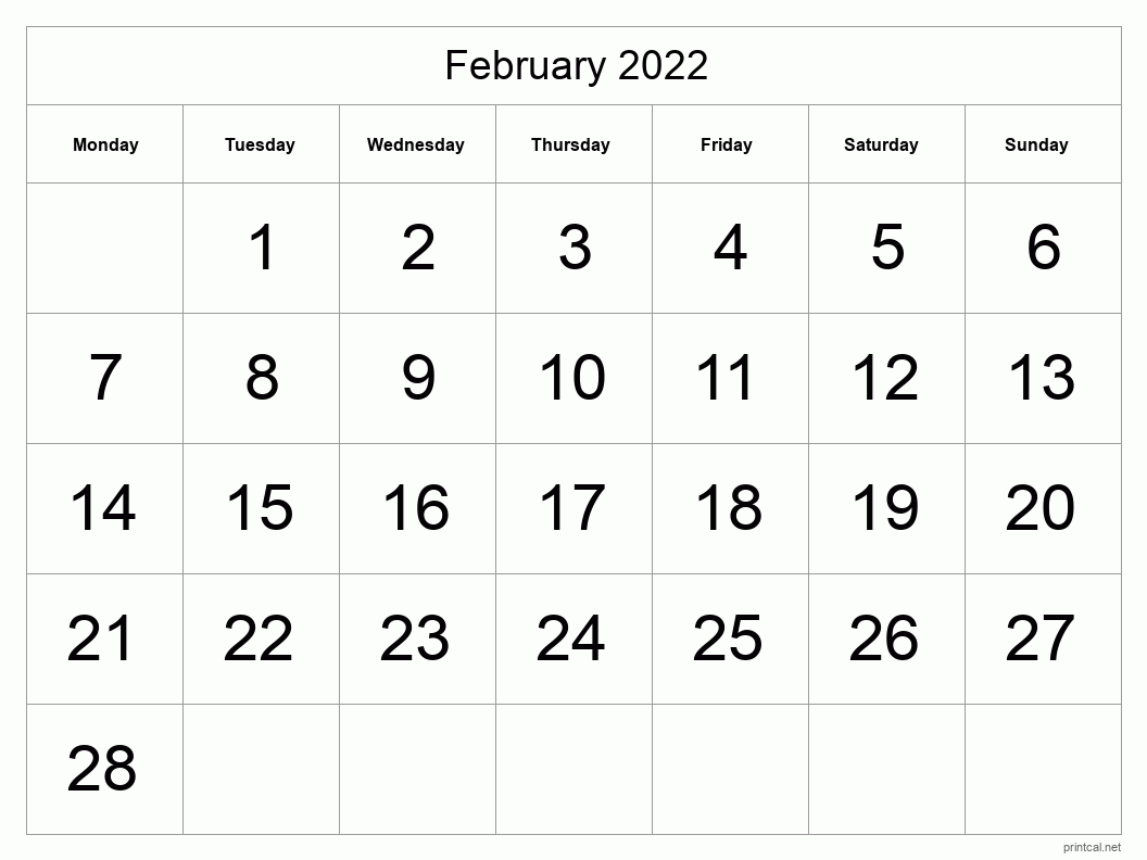February 2022 Printable Calendar - Big Dates