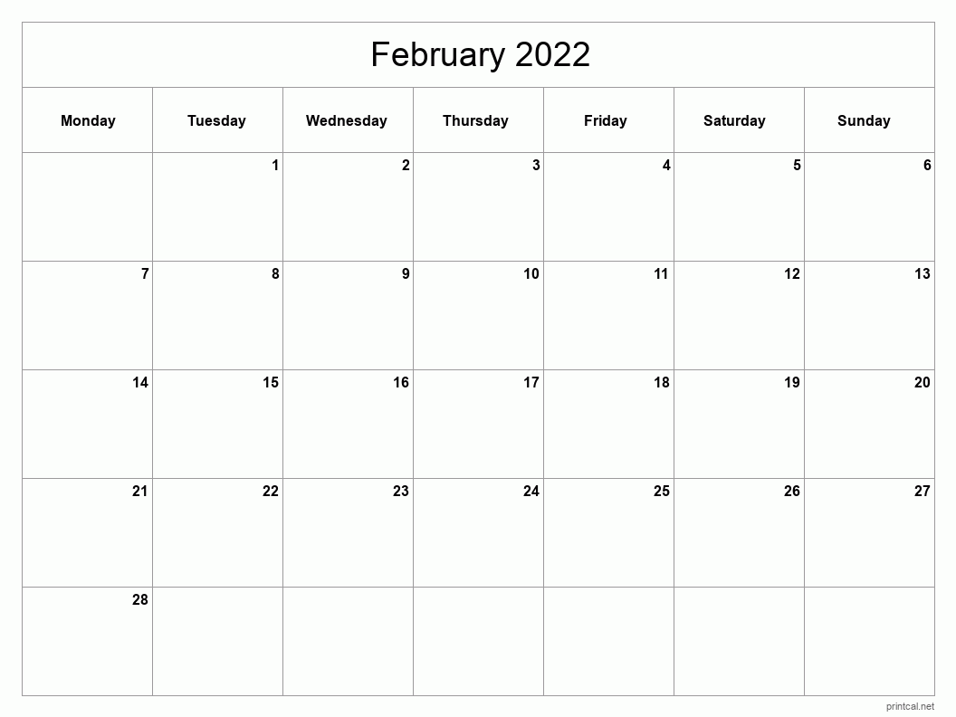 February 2022 Printable Calendar - Classic Blank Sheet